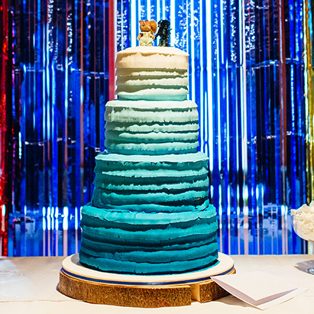 Blue Ombré Wedding Cake Sweets Display