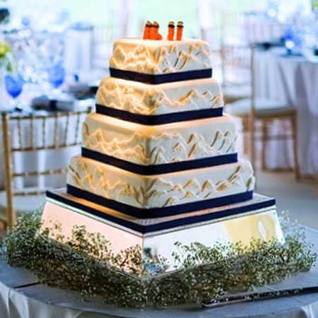 Mountain Skiing Themed Wedding Cake