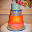 Bright and colourful Indian wedding cake