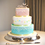 Pink and Blue with Bunting Wedding Cake