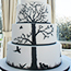 Hand painted black tree silhouette